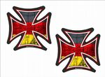 2 Pcs IRON CROSS With Germany German Flag Motif External Vinyl Car Biker Helmet Sticker Each 60x60mm